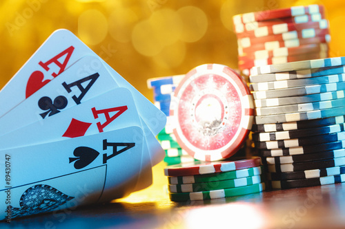 Photo  Cards and chips for poker
