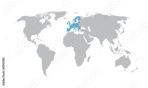 world map with indication of European Union - Buy this stock ...