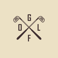 Golf. Emblems For Golf With Two Crossed Golf Clubs, Ball.Retro L