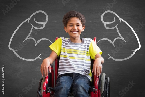 Photo  Composite image of cute disabled pupil smiling at camera in hall