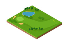 Map Of Golf Hole - A Vector Image Of An Isometric Golf Course With Putting Green, Bunker And Fairway. Also With Water And Sand Hazards.