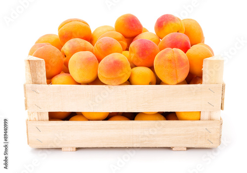 Apricots (Prunus armeniaca) in wooden crate
