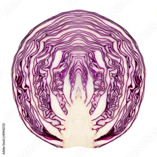 Red cabbage cut in half and made symmetric Tapéta, Fotótapéta
