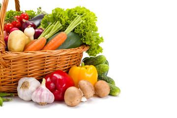 Various fresh vegetables in basket