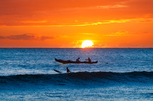 Boat And Surfer At Sunset, Mau...