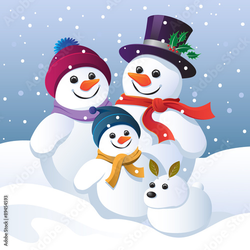 Snowman family group and snow dog Poster