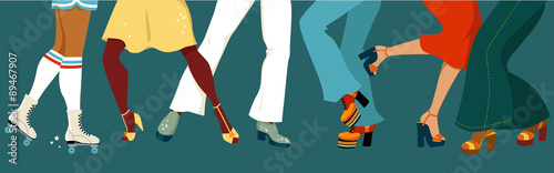 Legs of a group of people dressed in 1970s fashion dancing disco, vector illustr Wallpaper Mural