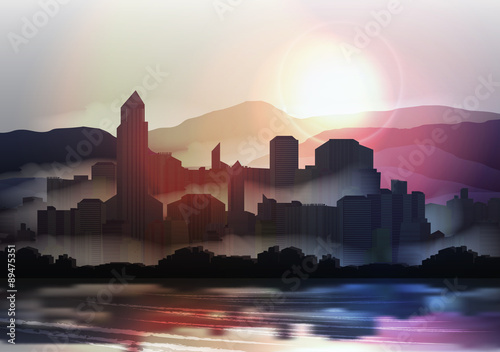 City Skyline at Sunset in the Mountains - Vector Illustration