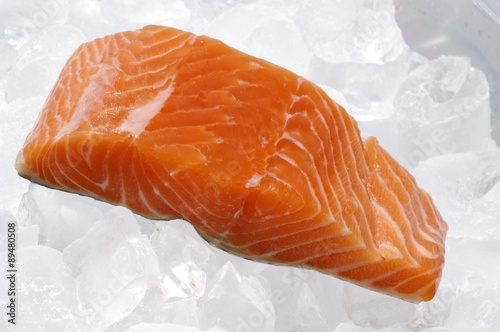 Poster Fish Salmon fillet on ice