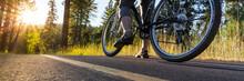 Bike On Asphalt Path Illuminat...