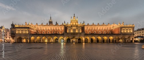 Cloth-hall (Sukiennice) in Krakow beautifully illuminated in early morning