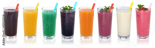 Photo sur Toile Jus, Sirop Smoothie Saft Smoothies Säfte mit Früchte Fruchtsaft in einer