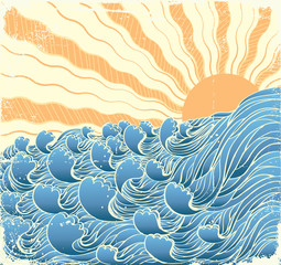FototapetaSea waves. Vectorgrunge illustration of sea landscape with sun