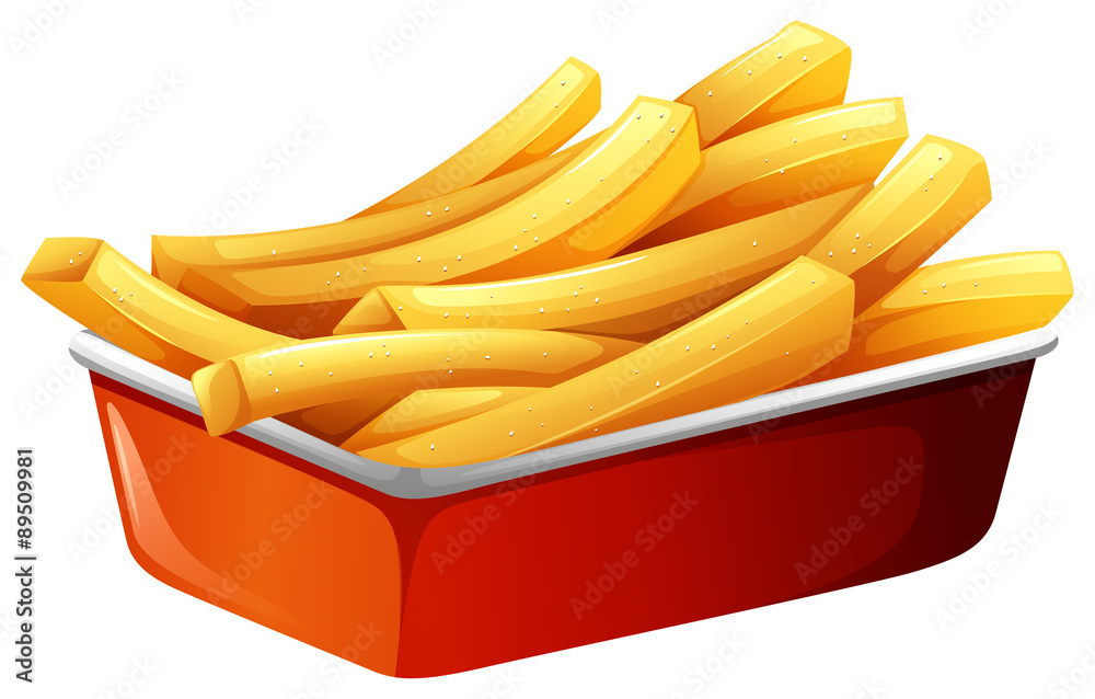 Photo  French fries in red tray