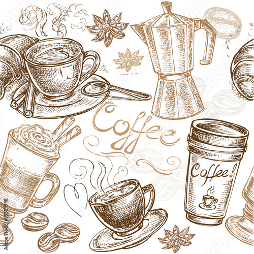 Fotografia, Obraz  seamless pattern coffee