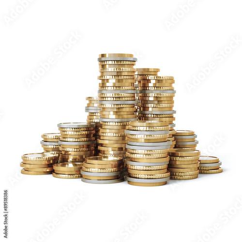 Cuadros en Lienzo Piled up coin stacks
