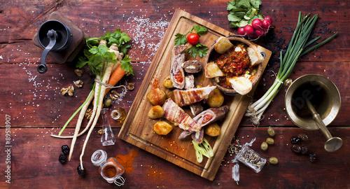Cuadros en Lienzo  Food on a wooden board, bird's-eye view
