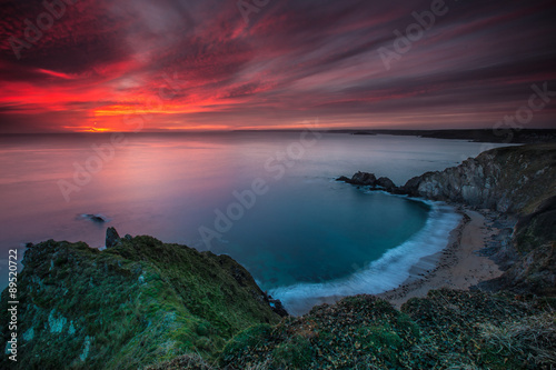 Fotomural Hope Cove sunset 1