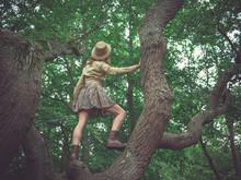 Woman Wearing Safari Hat Climbing Tree