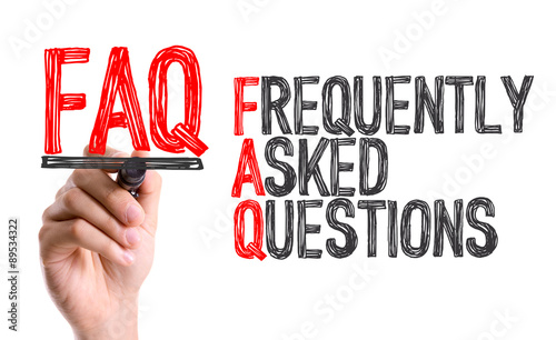 Photo Hand with marker writing the word Frequently Asked Questions