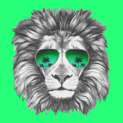 FototapetaHand drawn portrait of Lion with sunglasses. Vector isolated elements.