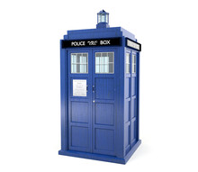Blue Police Box Isolated On Wh...