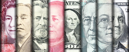 Tablou Canvas Faces of famous leader on banknotes of the main country in the world