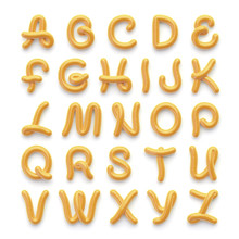 Alphabet With Letters Made Of Spicy Mustard