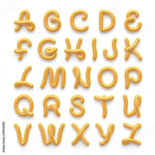 Fotografie, Tablou Alphabet with letters made of spicy mustard