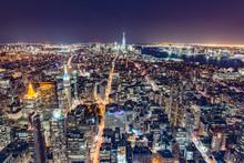 New York Vista Lato Sud Dall'Empire State Building Di Notte.