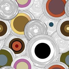 Panel Szklany Abstrakcja seamless vinyl disc pattern, with circles, strokes and splashes