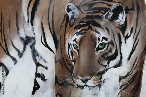 Obraz w ramie Tiger gemalt