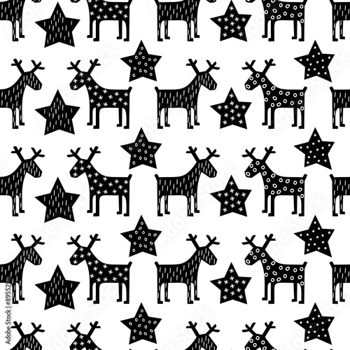 Cotton fabric Seamless retro Christmas pattern - Xmas reindeer and night stars. Happy New Year background. black and white vector design for winter holidays.