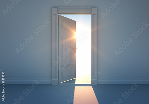 Fotografie, Obraz  Offene Tür mit Sonnenlicht