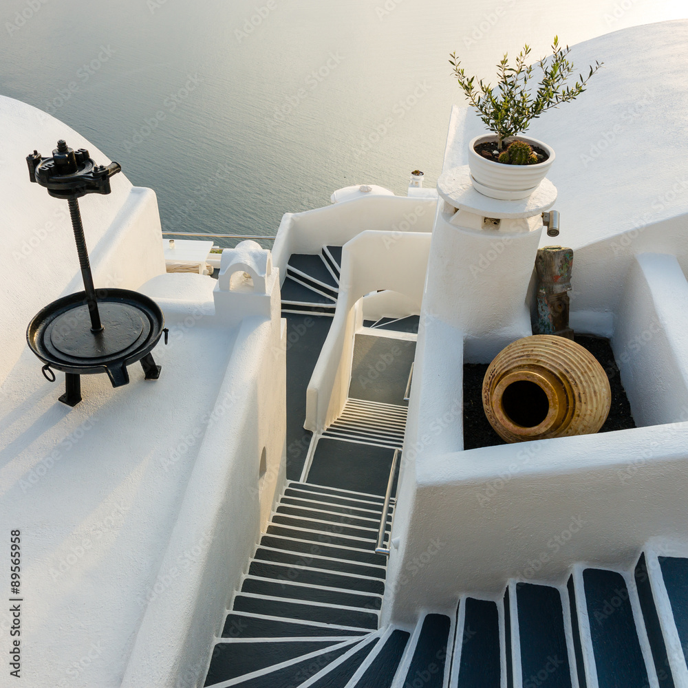 Fototapeta Stairs on Santorini Island Greece
