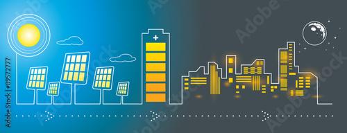 Solar panels city energy charging Fototapeta
