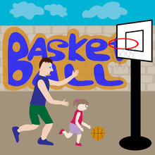 Dad And Daughter Play Basketba...