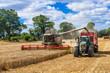 Leinwanddruck Bild - Mähdrescher und Traktor mit Ladewagen bei der Getreideernte - 2899