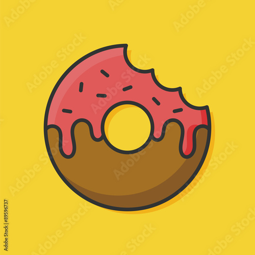Photo  donut color line icon