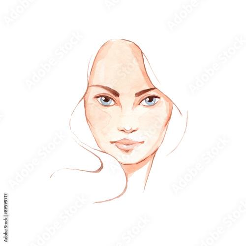 Beautiful woman face 2. Hand-drawn illustration. Vector