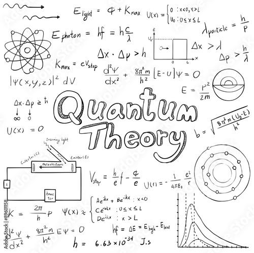 Fotografia, Obraz  Quantum theory law and physics mathematical formula equation, doodle handwriting