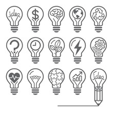 Light Bulb Concept Line Icons ...
