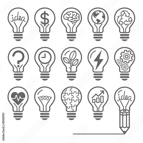 Photo  Light bulb concept line icons style.