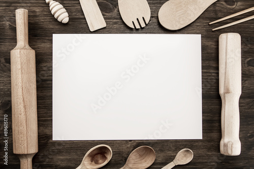 Romantic Dinner Concept Top View Of Blank Sheet Of Paper With