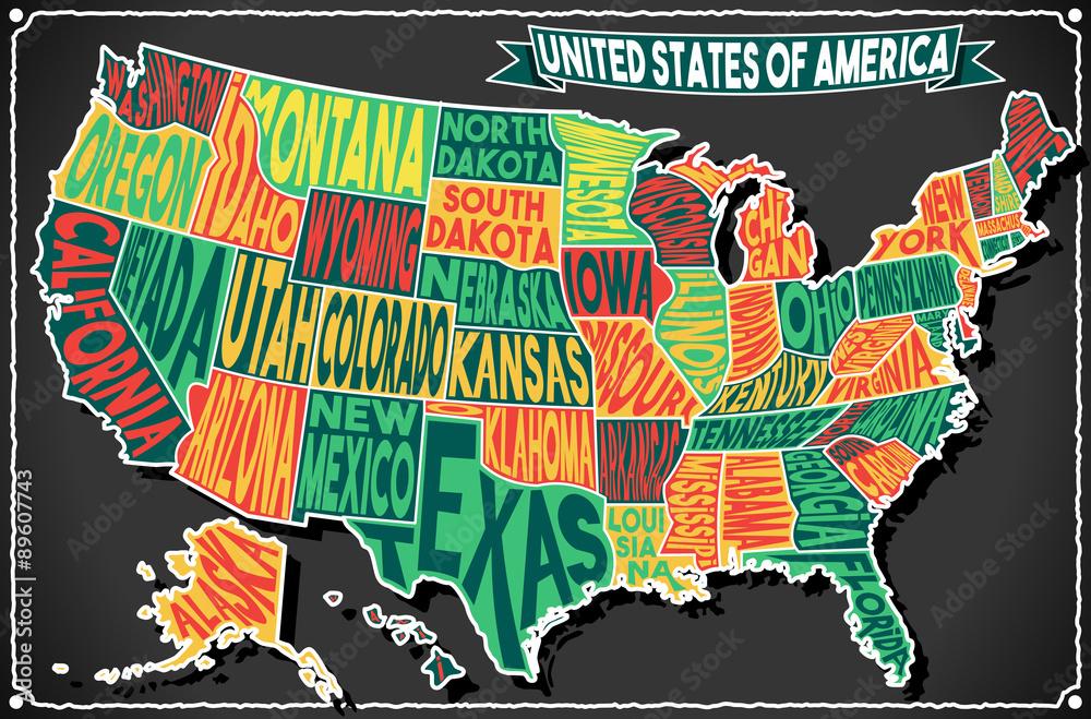 USA Map Vintage Blackboard 2D Vector US America Foto, Poster ...