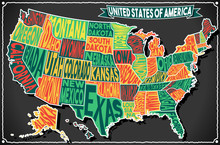 USA Map Vintage Blackboard 2D Vector US America
