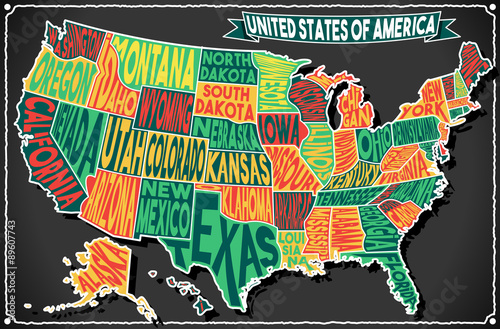 Photo USA Map Vintage Blackboard 2D Vector US America