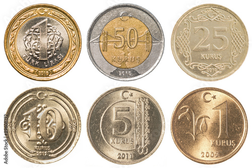 Turkish Lira coins collection set - Buy this stock photo and
