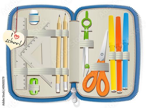 Set of school accessories in pencil box Fototapeta