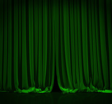 Green Curtain In Theater.